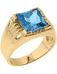 Little Treasures - 9 ct Solid Yellow Gold Aquamarine Gemstone Men's Ring