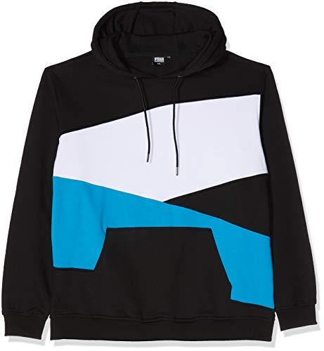 Urban Classics Herren Kapuzenpullover Zig Zag Hoodie, Farbe Black/Turquoise/White, Größe 4XL Zip Front Hooded Sweatshirt Shirt
