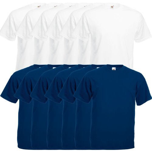 Fruit of the Loom Original Valueweight T Rundhals T-Shirt F140 3er 6er 9er 12er Pack 6x white 6x purple