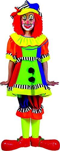 (Faschingsfete Clown Kostüm mit Kleid und Hose für Kinder, 116-122, 6-7 Jahre, Mehrfarbig)