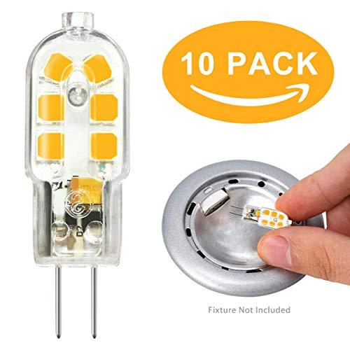 G4 LED Lampen Stiftsockellampe 2W, Ersatz 10W 20W Halogenlampe, AC/DC 12V Warmweiß 3000K Nicht Dimmbar 10er-Pack