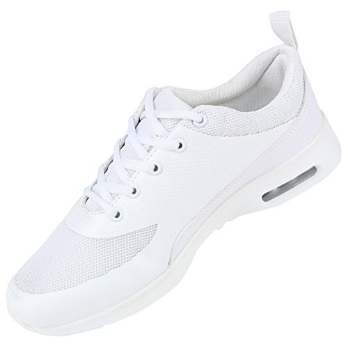 Damen Sportschuhe | Runners Sneakers | Laufschuhe Fitness | Trendfarben | Sportliche Schnürer All Weiss