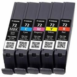 Original Canon 6402B009 / PGI-72 Cartouche d'encre Multipack (BK,C,M,Y,R, capacité 5 x 14 ml) pour Pixma Pro 10