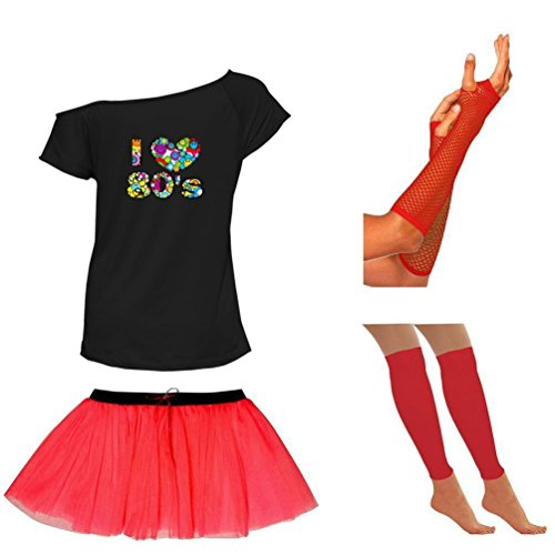 Women's 4 Pc Set with Off Shoulder Tee, Skirt, Mesh Gloves, Leg Warmers - Sizes 8 to 16