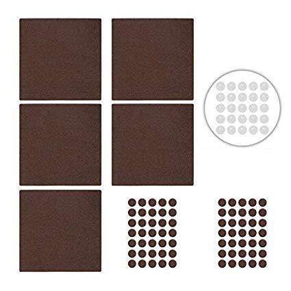 Maila Filzgleiter selbstklebend - Möbelgleiter aus Filz zum Schutz für alle Möbel wie Stühle, Sofa und Sessel inkl. Gummipuffer transparent - Bodenschutz braun (75 Filzteile + BONUS - 25 Gummipuffer)