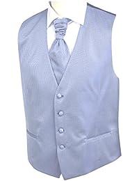 Hochzeitswestenset von Wilvorst, grau-blau kariert mit blauen Punkten