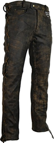 MDM Lederhose an den Seiten geschnürt in braun Bikerjeans Lederjeans Rockerhose Western Lederhose (36)