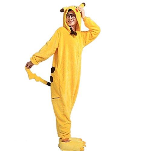 Imagen de wanziee  disfraz de pikachu, sudadera con capucha tipo cosplay, pijama de dibujos animados, de halloween.