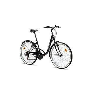 """41Bg8q86MnL. SS300 Moma Bikes Town, Bicicletta di Città 26"""", Shimano 6v, Freni V-Brake Alluminio. Unisex – Adulto, Nero, Unic Size"""