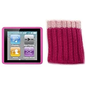 Kolay 6G Nano Starter Pack Pink Silicone Case + Pink Sock Cover & 2 x Screen Protector Kit for New Apple iPod Nano 6 6th Generation 8GB 16GB
