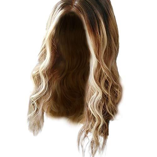 Nourich Naturblond große, gewellte Perücke für hübsche Mädchen, klebefreie Lace-Frontperücke, voller Kopf, Perücke für Frauen, Perücke, Haar blond, Natur, Synthetik ()