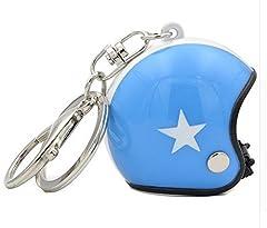 Idea Regalo - Grande Portachiavi Gioielli Di Sacchetto Casco Moto blu e bianco stella.