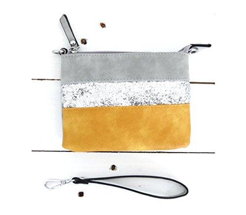 t*fd 8029 - schwarz, Poschette giorno donna grau mustard Small grau mustard