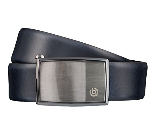 Bugatti Gürtel Leder Herrengürtel Ledergürtel Automatikschließe 35 mm Blau 4187, Länge:85 cm, Farbe:Blau