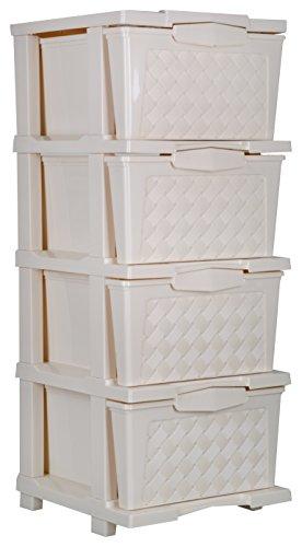 Joyful Cargo Plastic Multipurpose Drawer (35 cm x 28 cm x 120 cm, Beige)