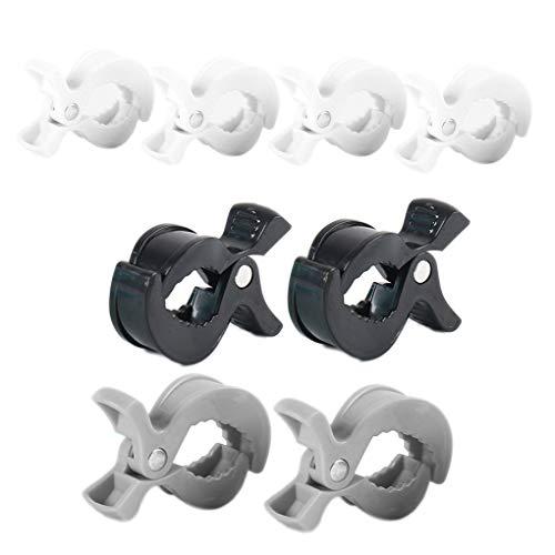 heacker 8 PC-Baby-Spaziergänger-Pegs Kunststoff Pram Sitzbezug Handtuch Clips Spielzeug Halter Suppllies Weiß Grau Schwarz