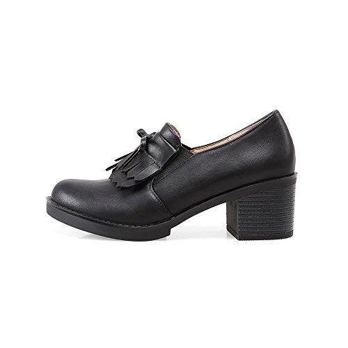 VogueZone009 Femme Pu Cuir Couleur Unie Tire Rond à Talon Correct Chaussures Légeres Noir
