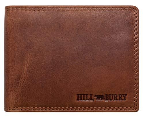 Voll-leder (Hill Burry Herren Echt-Leder Geldbörse | Voll-Leder Vintage Portemonnaie Brieftasche Portmonee Geldbeutel - aus hochwertigen weichem Leder - Kreditkartenetui Wallet Vintage | Querformat (Braun))