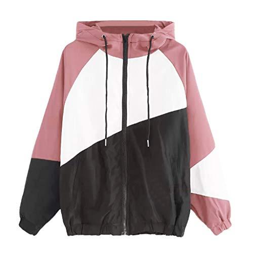 Block Track Jacke (SEHRGUTGE Damen Hip Hop Oversized Hooded Outdoor Jacken, Langarm Color Block Skinsuits Hoodies Track Jacket Mäntel, Größe S-XL)