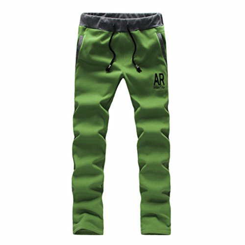 Men's Drawstring Elastic Cotton Blends Trousers green