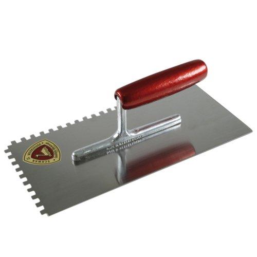 Glätter gezahnt 6x6 mit Holzgriff Maurerkelle Glättkelle 6mm x 6mm