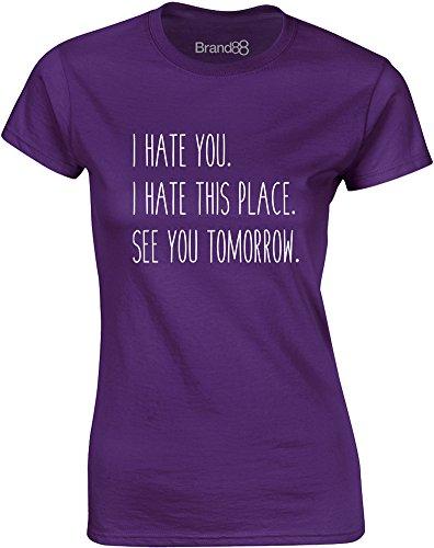 Brand88 - See You Tomorrow, Gedruckt Frauen T-Shirt Lila/Weiß