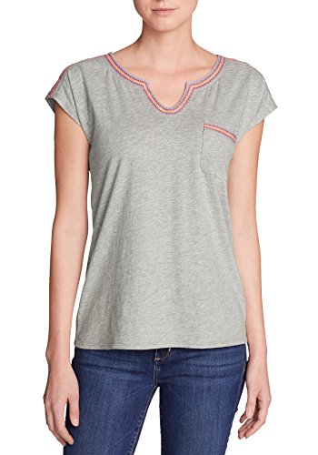 Eddie Bauer Damen Rosario Beach T-Shirt mit Tasche Hellgrau Meliert