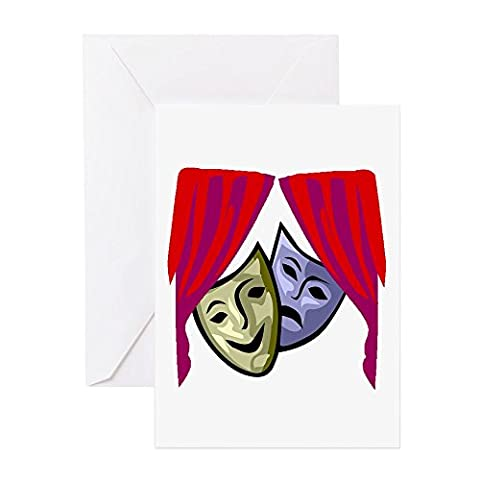 CafePress - COMEDY & TRAGEDY MASKS - Greeting Card, Note Card, Birthday Card, Blank Inside Matte