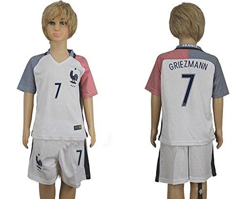 Maillot de football pour enfant France Antoine Griezmann Numéro 7 /Match à l'extérieur Blanc moyen blanc