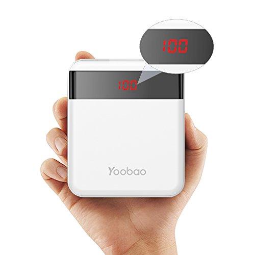 Yoobao M4Pro 10000mAh Cargador portátil Banco de teléfono móvil Batería externa ultra pequeña y compacta, entrada dual (relámpago y micro USB) Salida dual con Smart LED Digital Display para iPhone Samsung Galaxy Huawei etc-Blanco