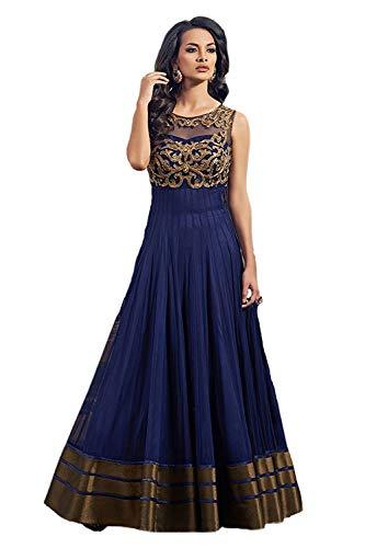 Pramukh Fashion Women's Net Gown with Jacket (Coper Blue)