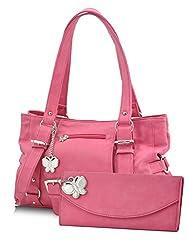Butterflies Women's Handbag (Pink) (BNS MJ014)