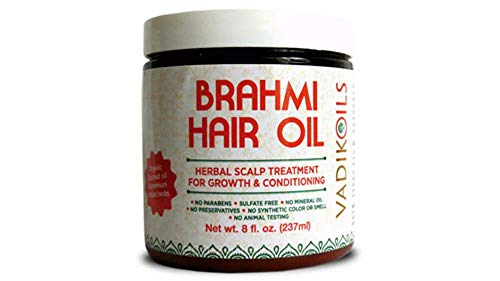 Brahmi Oil - Ayurvedic Hair Growth Oil (with saffron) ~ Top selling hair growth treatments on Amazon.com ~ 100% satisfaction guaranteed or money back by Vadik Herbs