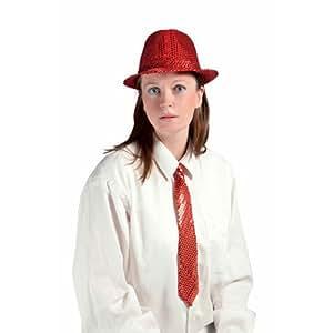 P'TIT CLOWN 20194 Chapeau Tissu Sequins Adulte - Borsalino - Rouge