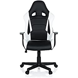 hjh OFFICE 621930 Gaming Stuhl GT Racer Kunstleder Schwarz-Weiß Chefsessel im Sportsitz-Design mit Armlehne