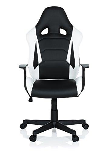 hjh OFFICE 621930 Gaming Stuhl GT Racer Kunstleder Schwarz-Weiß Chefsessel im Sportsitz-Design mit Armlehne -