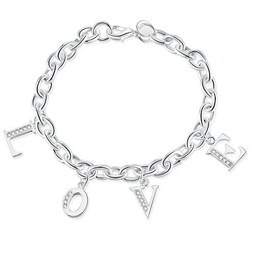 WIBERN Silver Tone Zircon Stone Love Alphabet Personalized Charm Chain Link Bracelet for Women