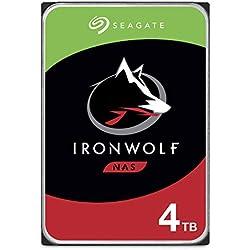 Seagate IronWolf 4 To, Disque dur interne NAS HDD - 3,5 pouces SATA 6 Gbit/s 7 200 tr/min, 256 Mo de mémoire cache, pour stockage en réseau NAS RAID - Ouverture Facile (ST4000VNZ08)