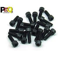 POPESQ® 20 Piezas x Tornillos M5 16mm Largo INBUS Acero Zinc Negro / 20 pcs. x Screws M5 16mm Long INBUS Steel Zinc Black #A2286