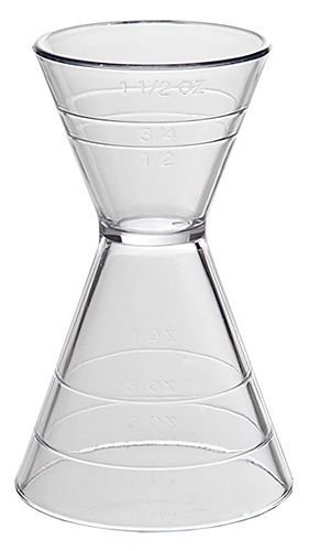 Clear Plastic Super Double Jigger Shot Glass Mixed Drink Measurer by Franmara Shot Glass Jigger
