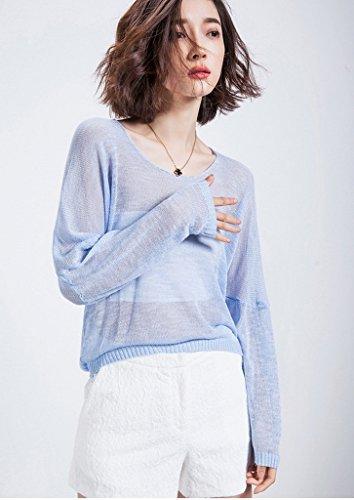 Bigood T-shirt Lin Femme Tops à Manches Longues Sarrau Overall Plage Soleil Climatisation Uni Bleu