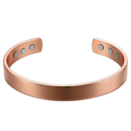 Oidea Damen Magnet Armband Rosegold, verstellbar Kupfer offener Frauen Armreif mit 6 Silber starken Magneten