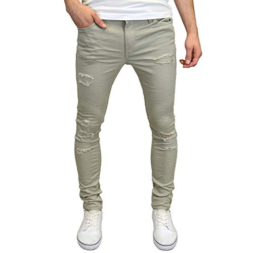 Jack & jones – maglietta strappato skinny fit stretch chinos ripped chino grey w28 / l30