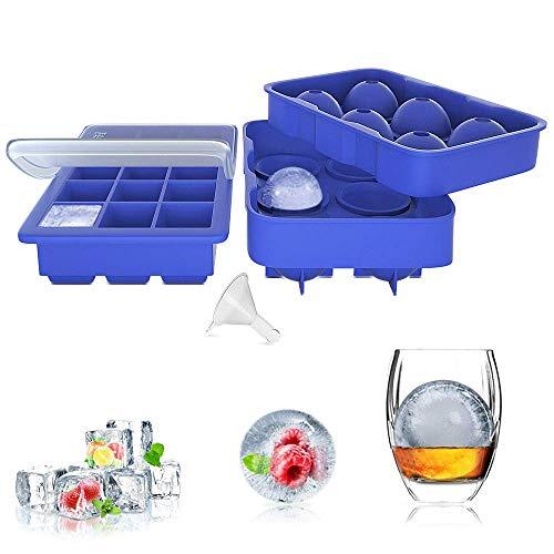 ZeaLife Eiswürfelform Silikon Eiswürfel Form 45mm Eiskugelform, 2er Set Eiswürfelschalen mit Deckel und Trichter, BPA Frei 15-Fach 32mm Eiswürfelbehälter für Whisky, Cocktails, Schokolade, Blau