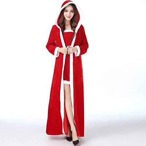 Weihnachten Kostüm - Adult Weihnachten Kleid Weihnachten Mädchen Cosplay Set Plus Fett Beflockung Weihnachten Frau Large Size Cosplay Set Alter Mann Kleidung (eine Größe passt für ()