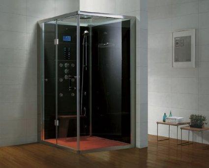 Dampfdusche/Wellnessdusche AQUALINE WS108-1S8 1000 x 800 x 2140mm Rückwandfarbe: schwarz, Version rechts