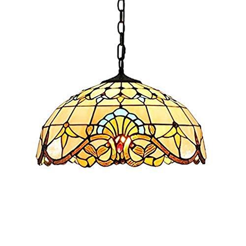 E27 Tiffany Pendelleuchte Deko Leuchte Vintage Glas Hängelampe Höheverstellbar Esstisch Esszimmer Küchenlampen Lampen Retro Pendellampe Wohnzimmerlampe Hängeleuchte Schlafzimmer Keller Loft Cafe Bar -