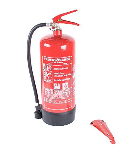 6L-Schaumfeuerlöscher 9 Löscheinheiten Brandklasse AB mit Halterung, Manometer + Instandhaltungsnachweis von Feuerlöscher-Tauschsystem -