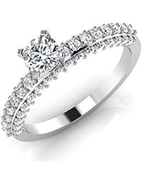 IskiUski White Gold And American Diamond Ring For Women - B075VH9QM7