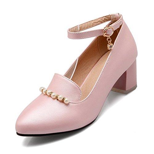 VogueZone009 Femme Pu Cuir Couleur Unie Boucle Fermeture D'Orteil Pointu à Talon Correct Chaussures Légeres Rose
